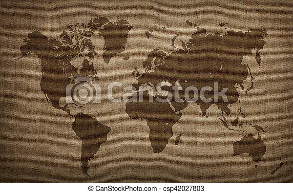 Brown world map on old vintage flax linen canvas brown world map on brown world map on old vintage flax linen canvas csp42027803 gumiabroncs Images