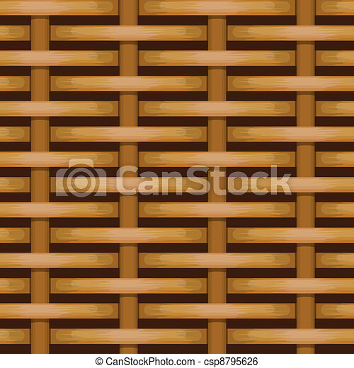 Brown woven wicker for use as background - csp8795626