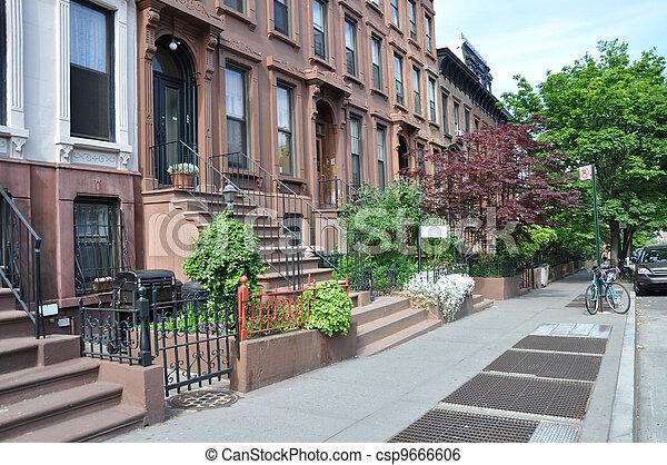 Brownstone Urban City Sidewalk - csp9666606