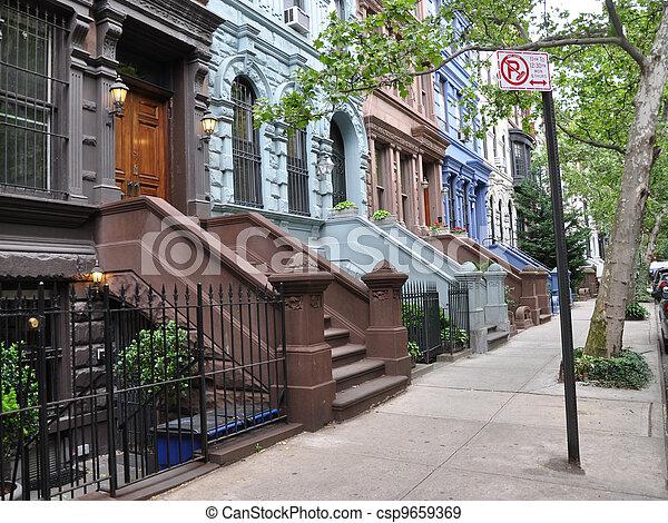 Brownstones Colorful No Parking - csp9659369