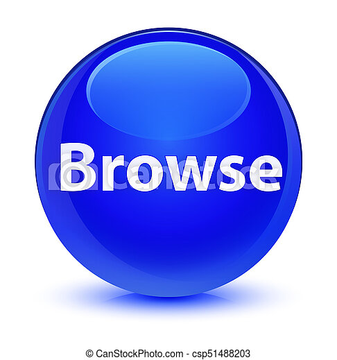 Browse glassy blue round button - csp51488203