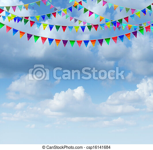 bruant, ciel, drapeaux - csp16141684
