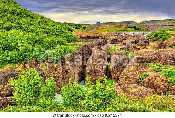 Bruarhlod Canyon of the Hvita river in Iceland - csp40215374