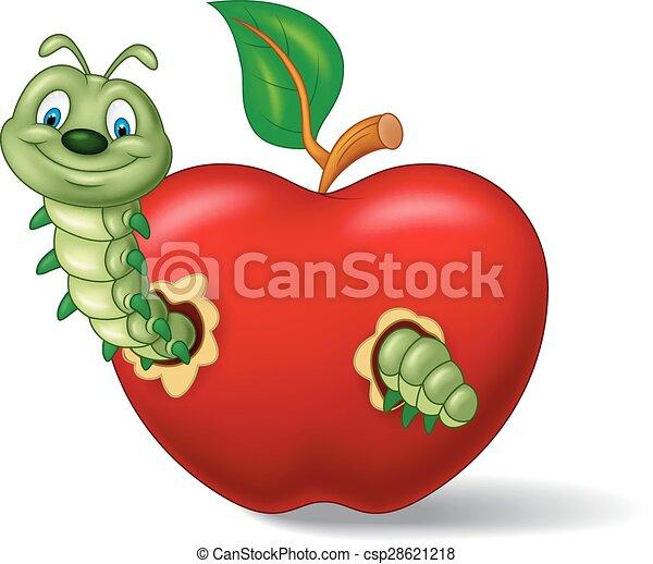 Bruco mela mangiare cartone animato mela for Immagini da colorare bruco
