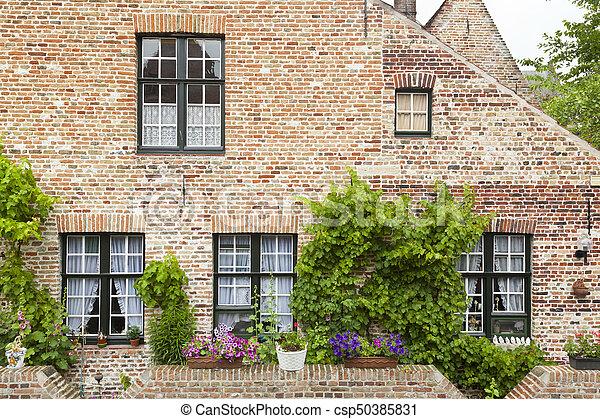 Bruges Begijnhof Houses - csp50385831