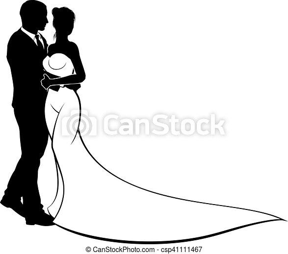 bruid, bruidegom, silhouette, trouwfeest - csp41111467