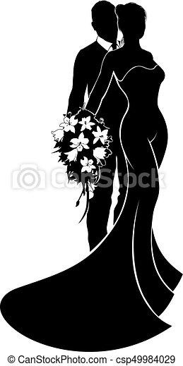 bruid, bruidegom, silhouette, trouwfeest - csp49984029