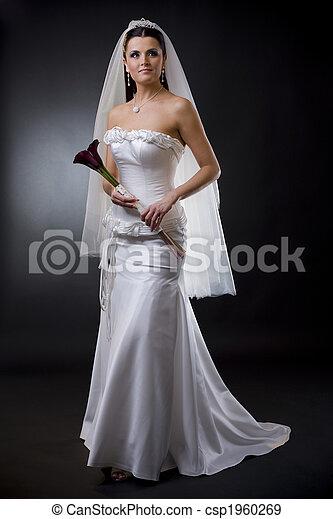 bruid, jurkje, trouwfeest - csp1960269