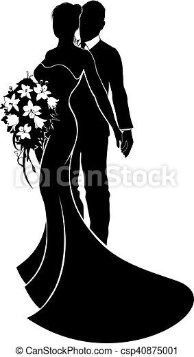 bruid, paar, bruidegom, silhouette, trouwfeest - csp40875001
