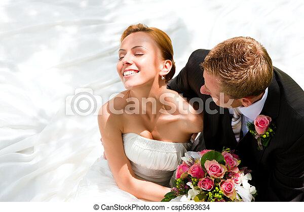 bruid, paar, bruidegom, -, trouwfeest - csp5693634