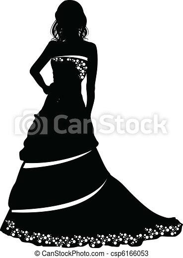 bruid, silhouette - csp6166053
