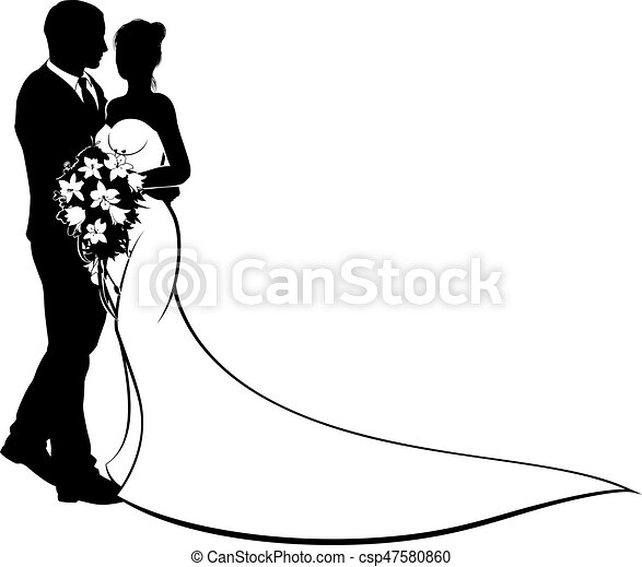 bruid, trouwfeest, concept, silhouette, bruidegom - csp47580860