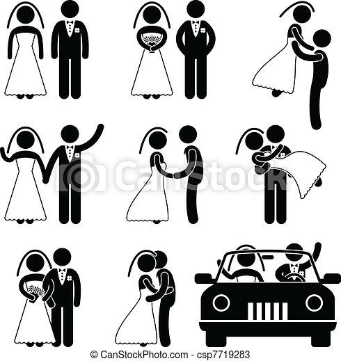 bruidegom, bruid, huwelijk, trouwfeest - csp7719283