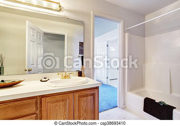 Bruine , badkamer, kabinetten, tonen, interieur, witte ...