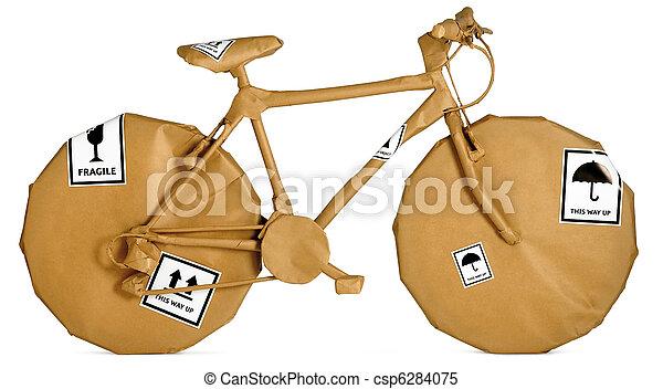 bruine , fiets, kantoorbeweging, vrijstaand, verpakte, papier, achtergrond, gereed, witte  - csp6284075