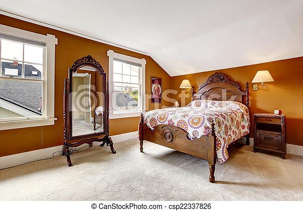 Hout Slaapkamer Meubels : Bruine meubel hout gekerfde slaapkamer bruine spiegel bed