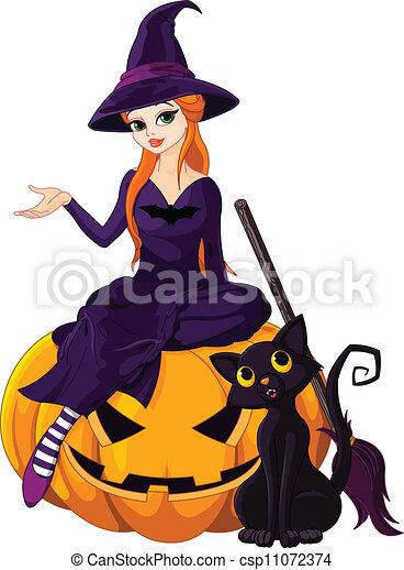 Bruja de Halloween en calabaza - csp11072374