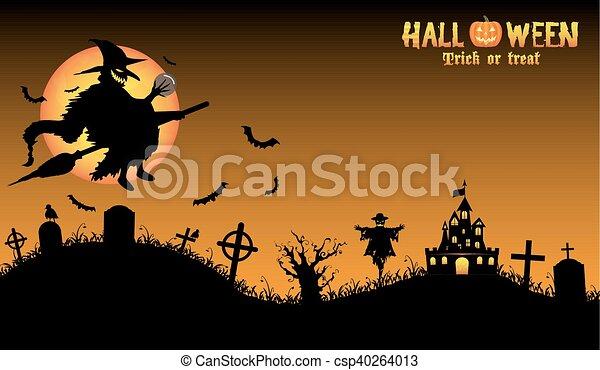 Bruja con antecedentes de Halloween - csp40264013