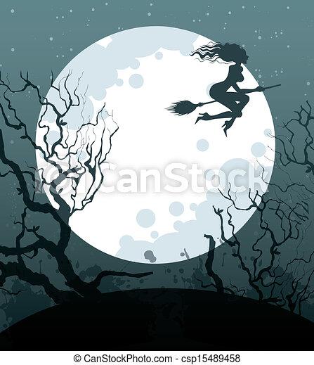 Noche de Brujas con bruja - csp15489458