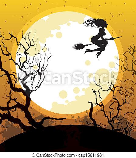 Noche de Brujas con bruja - csp15611981