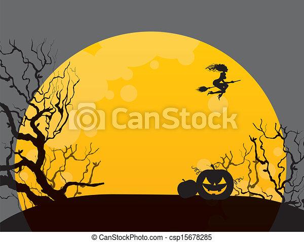 Antecedentes de Halloween con bruja - csp15678285