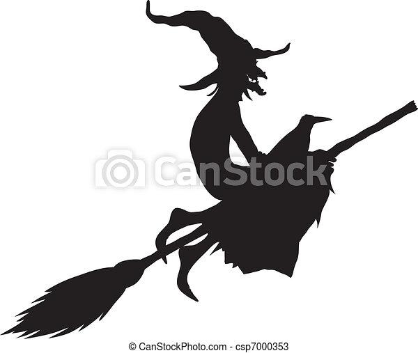 Bruja de Halloween silueta - csp7000353