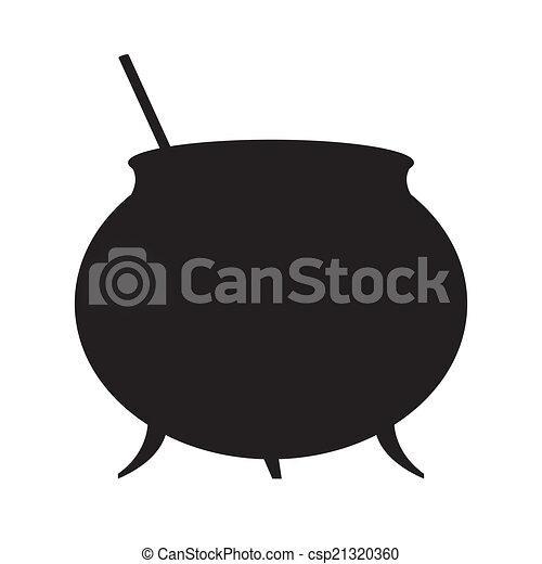Silueta de caldero de brujas - csp21320360