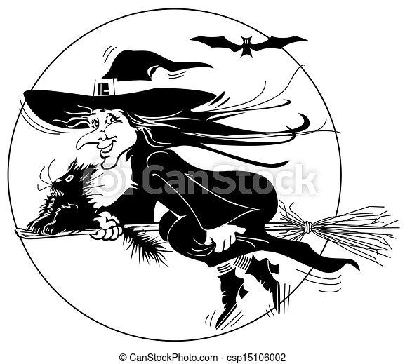 Silueta de bruja voladora - csp15106002