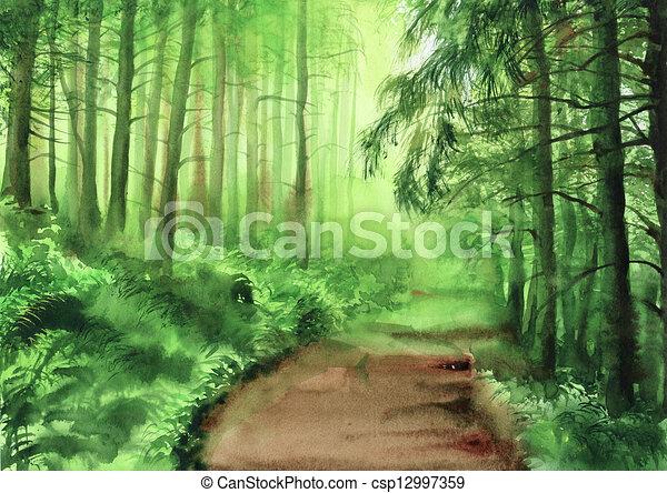 Brumeux Forêt Verte Brumeux Surovtseva Aquarelle Forêt Verte