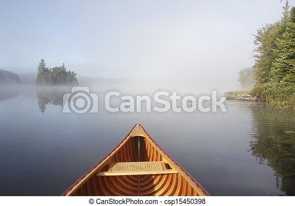 brumeux, lac, canoë-kayac - csp15450398