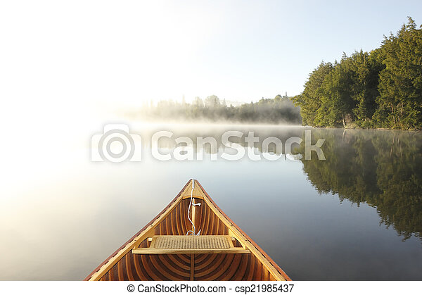 brumeux, lac, canoë-kayac - csp21985437