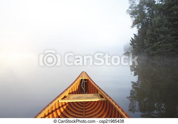 brumeux, lac, canoë-kayac - csp21985438