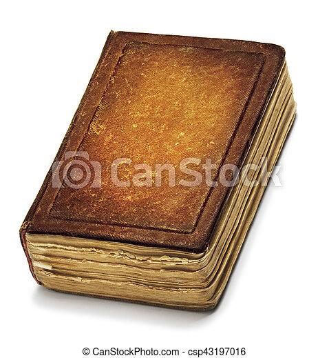 Brun Ancien Vieux Cuir Vendange Sur Isole Couverture Livre Livres Papiers Devant Blanc Texture