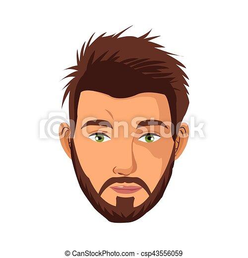 brun barbu yeux cheveux vert portrait homme brun clipart vectoriel rechercher. Black Bedroom Furniture Sets. Home Design Ideas
