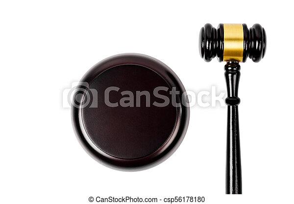 brun, bois, isolé, fond, marteau, blanc - csp56178180