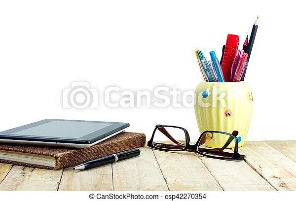 Brun bureau tablette fourniture bois lunettes pc stylo