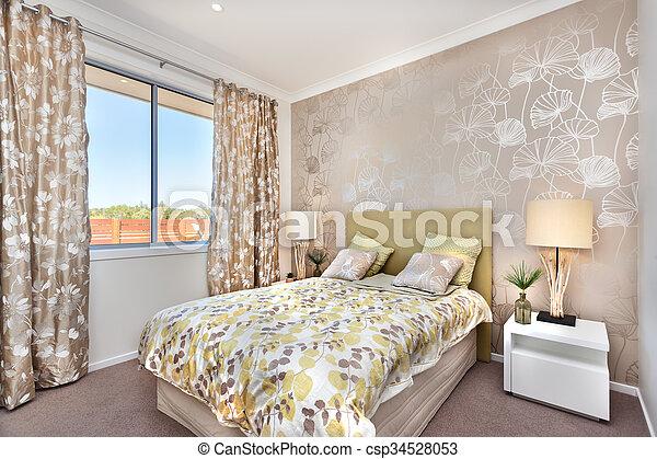 brun, couleur, lumière, moderne, lit, maître, luxe, décorations, chambre à  coucher, rideau, maison