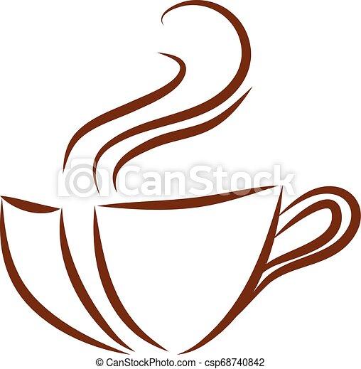 brun, couleur tasse café, illustration, vecteur, fond, logo, blanc - csp68740842