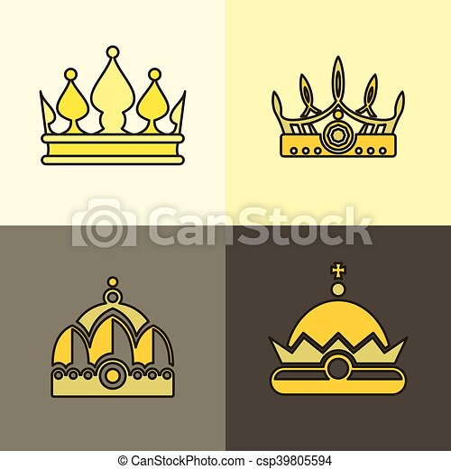Brun Couronne Fond Jaune Icones Illustration Brun Ensemble Icones Couronne Jaune Crowns Vecteur Plat Arriere Canstock