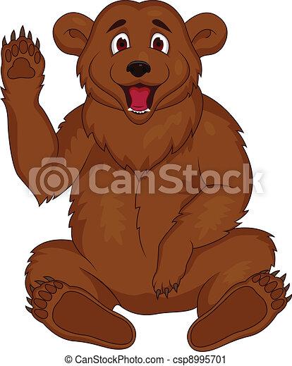 brun, dessin animé, ours - csp8995701