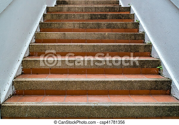 brun, escalier, béton - csp41781356
