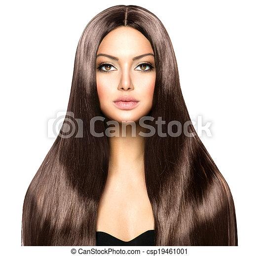 brun, femme, beauté, sain, lisser, longs cheveux, brillant - csp19461001