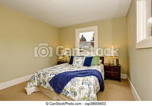 Brun, gulv, dybe, soveværelse, interior, gulvtæppe,... stock ...