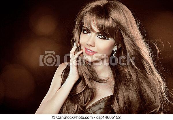 brun, hairstyle., lockig, länge, flicka, attraktiv, hair., woman., leende glada - csp14605152