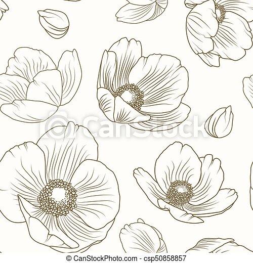 brun, modèle, ellébore, texture, beige, floral, pavot - csp50858857