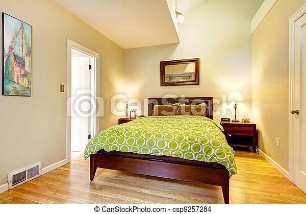 Brun, moderne, bed., vert, beige, chambre à coucher. Brun, moderne ...
