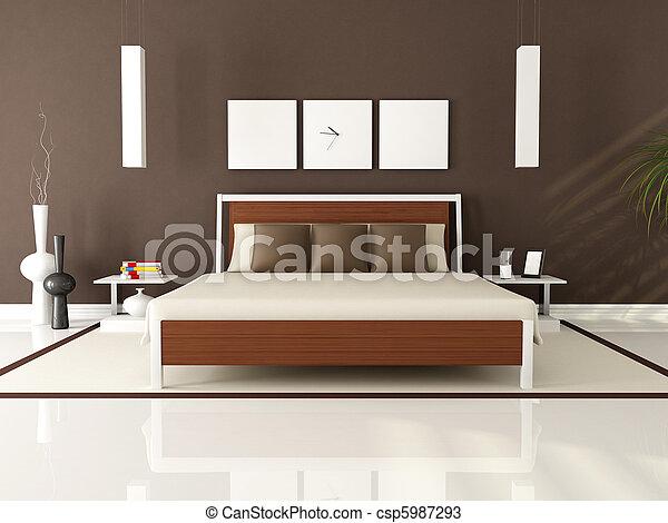Brun, moderne, soveværelse. Brun, gengivelse, -, samtidig,... stock ...