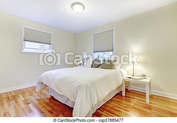 Brun, plancher, bois dur, walls., simplistic, beige, chambre à ...