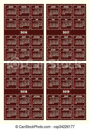 brun, stil, sätta, galler, retro, bakgrund, kalender - csp34226177