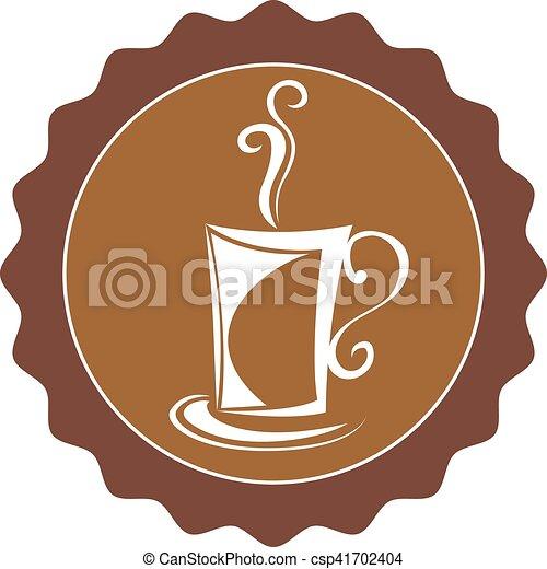 brun, tasse à café, illustration, fond, blanc - csp41702404